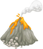 Volcano. Illustration of isolated volcano on white background Royalty Free Stock Photo