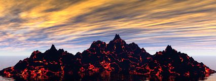 Volcano. And sky orange and blue Royalty Free Stock Images