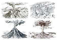 Volcano activity with magma, smoke before the eruption and lava or nature disaster. for travel, adventure. mountain. Landscapes. engraved hand drawn in old Stock Images