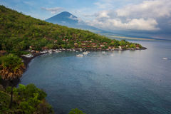Volcano Agung and Amed beach, Bali Stock Images