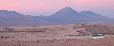 Volcano Atacama Chile Bus Pink Purple Stock Images