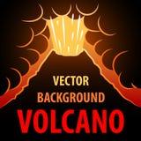 Volcano Background De uitbarsting van de vulkaan op de achtergrond voor een inschrijving Stock Fotografie