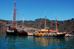 Volcano Bay. The quay at volcano island (Santorini, Greece stock photo