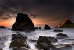 Volcano beach. Landscape with sea and a volcano royalty free stock photo