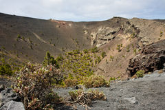 Volcano with big crater at La Palma, Spain Royalty Free Stock Photo
