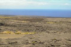 Volcano on the Big Island where the lava has blocked the road royalty free stock image