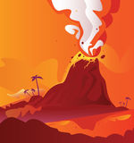 Volcano with burning lava vector illustration