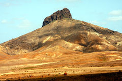Volcano in Cape Verde. The red desert with volcano in the island of Boa Vista in the archipelago of Cape Verde Royalty Free Stock Photos