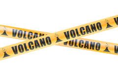 Volcano Caution Barrier Tapes, rendu 3D illustration stock