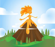 Volcano Character Stock Foto