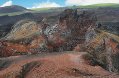 Volcano Chico runt om Volcano Sierra Negra, Arkivbilder