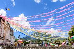 Volcano & church adorned for St John's Day, Guatemala Stock Photo