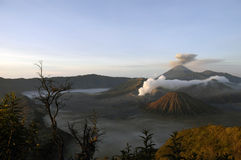The volcano complex with eruption Stock Photography