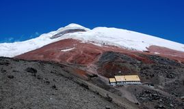 Volcano Covered With Snow Stock Photo