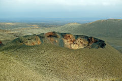 Volcano crater. In Timanfaya National Park, Lanzarote Royalty Free Stock Images