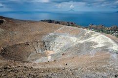 Volcano Crater Aeolian Islands Italy Stock Foto's