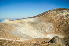 Volcano crater with fumaroles on Vulcano island, Eolie, Sicily Royalty Free Stock Images