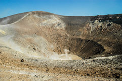 Volcano crater with fumaroles on Vulcano island, Eolie, Sicily Royalty Free Stock Photo
