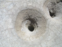 Volcano Crater Hole. A hole in the crater of the volcano of Nisyros, Greece royalty free stock photo