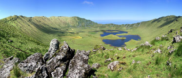 Volcano crater on the island of Corvo Azores Portugal