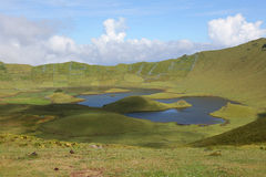 Volcano crater on the island of Corvo Azores Portugal Royalty Free Stock Photo