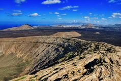 Volcano crater rim, Lanzarote Royalty Free Stock Photos
