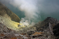 Volcano crater with sulphur outcrop Stock Image