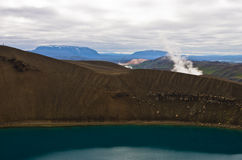 Volcano crater Viti with lake inside at Krafla volcanic area Stock Image