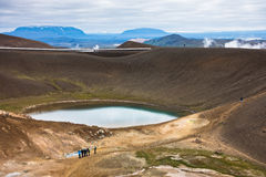 Volcano crater Viti with lake inside at Krafla volcanic area Stock Images