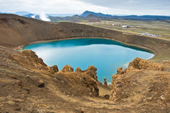 Volcano crater Viti with lake inside at Krafla volcanic area Royalty Free Stock Photo