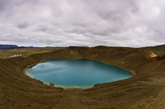 Volcano crater Viti with lake inside at Krafla volcanic area Royalty Free Stock Photography