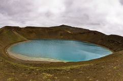 Volcano crater Viti with lake inside at Krafla volcanic area Royalty Free Stock Image