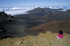 Volcano creater. On top of a Volcanic crater over looking Haleakala Stock Image