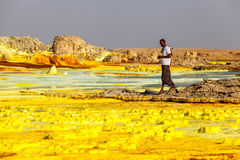 Volcano Dallol, Ethiopia. Afar region, Ethiopia 24.11.2016 Colourful volcano Dallol in Danakil dessert, Ethiopia. People walking across mineral soil formations