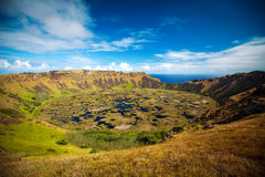 Volcano on Easter Island. Rano Kau volcano, Easter island, Chile, South America Royalty Free Stock Photos