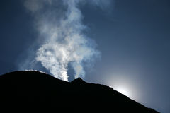 Volcano ejecting fumes. View from the top of Pacaya volcano in Guatemala Stock Photo