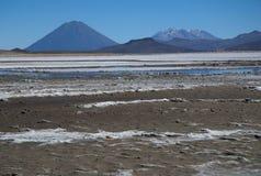 Volcano El Misti. Laguna Salinas Blanca and volcano El Misti at the Altiplano in South Peru Stock Photos