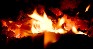 Volcano embers with flames Stock Photos