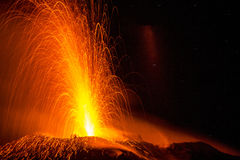 Volcano erruption. In the night - Stromboli Island Stock Photos