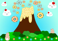 Volcano erupting donuts funny cartoon illustration. Background Royalty Free Stock Photo