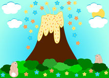 Volcano erupting flowers funny cartoon illustration Royalty Free Stock Photo
