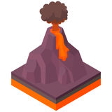 Volcano erupting icon, cartoon style. Volcano erupting icon in cartoon style on a white background vector illustration Stock Photography