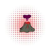 Volcano erupting icon, comics style. Volcano erupting icon in comics style on a white background Stock Photo