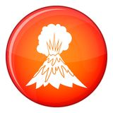 Volcano erupting icon, flat style. Volcano erupting icon in red circle isolated on white background vector illustration Royalty Free Stock Photography