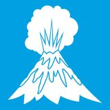 Volcano erupting icon white. Isolated on blue background vector illustration Stock Images
