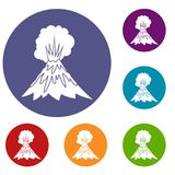 Volcano erupting icons set. In flat circle reb, blue and green color for web Stock Photo