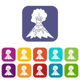 Volcano erupting icons set. Vector illustration in flat style In colors red, blue, green and other Stock Photos