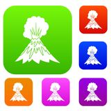 Volcano erupting set collection. Volcano erupting set icon in different colors isolated vector illustration. Premium collection Stock Photos