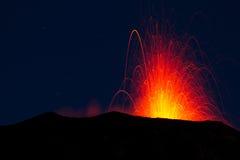 Volcano eruption. Eruption of the volcano stromboli by night Royalty Free Stock Image