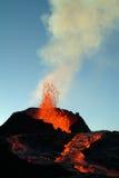 Volcano eruption. In Reunion island stock image